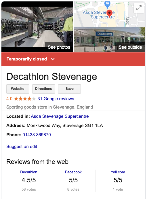 The box that appears to the right of Google search results when you enter Decathlon Stevenage