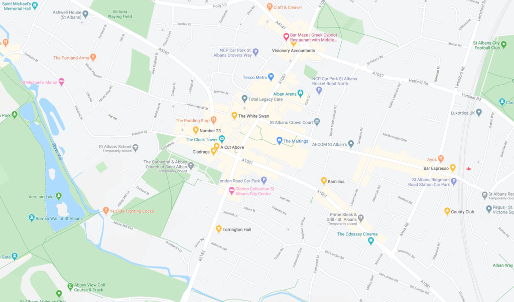 Screenshot of St Albans on Google Maps showing businesses, landmarks, organisations, areas etc inline with the text