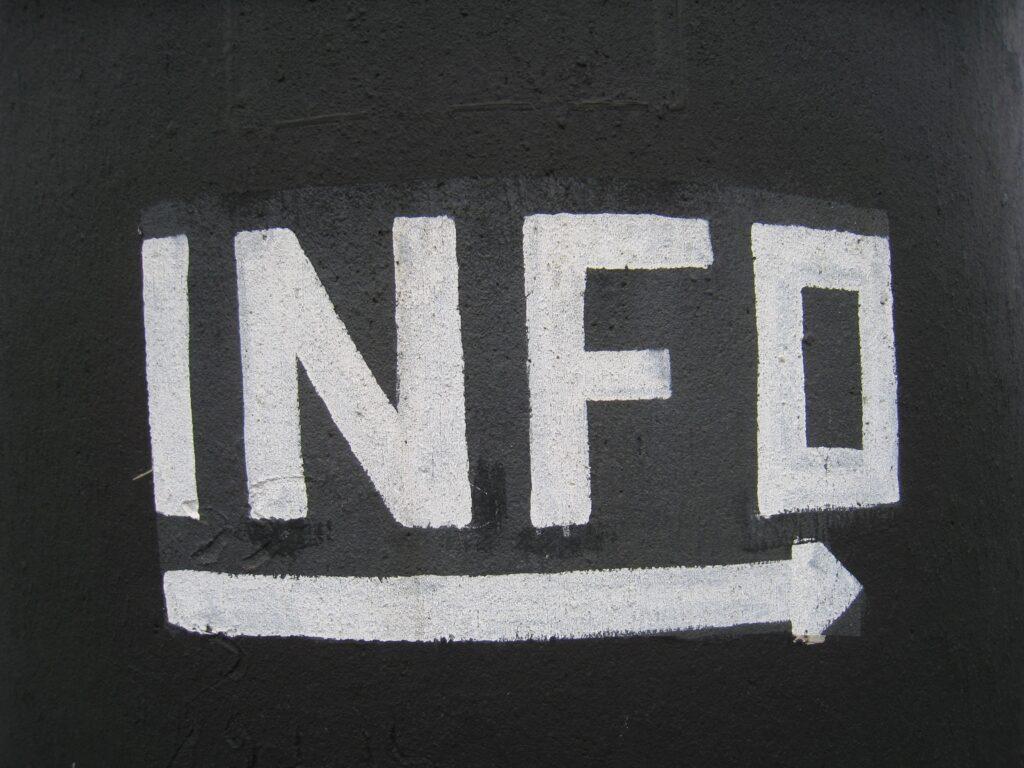 Chalk board with INFO written on it