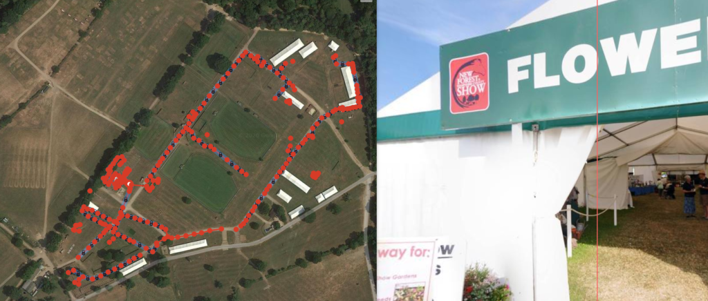 Screenshot of panoramas geographically located in the correct area for the New Forest and Hampshire County Show 2016