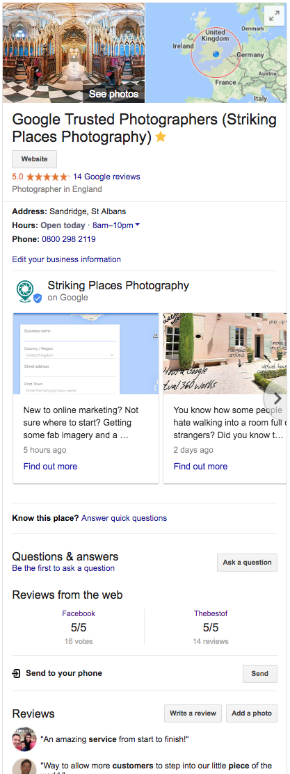 google my business knowledge box on google search