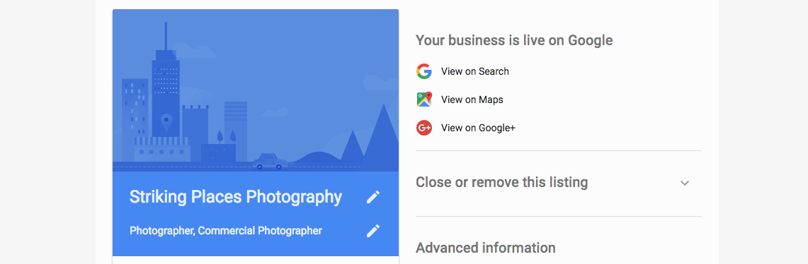 google my business home example