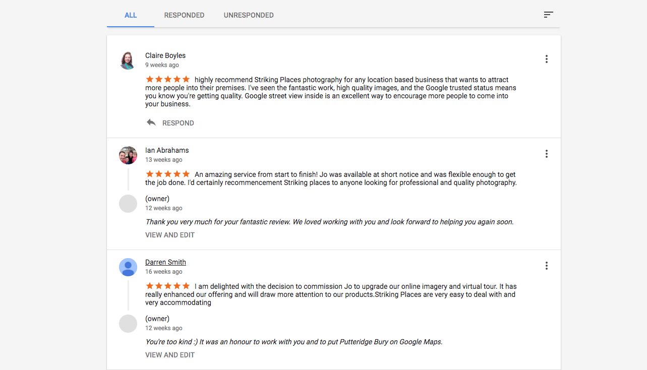 google review examples 5 stars